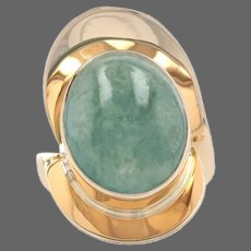 Yellow Gold Jadeite Cocktail Solitaire Bypass Ring - 14k Oval Cabochon 15.00ct