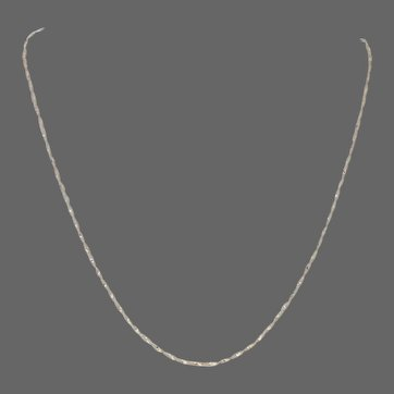 """Yellow Gold Twisted Herringbone Chain Necklace 18"""" - 14k Spring Ring Clasp Italy"""