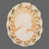Yellow Gold Carved Shell Cameo Vintage Pendant - 10k Gold Silhouette