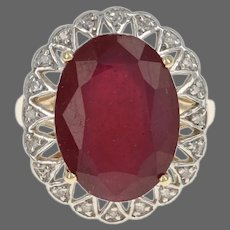 Yellow Gold Lead Glass Filled Ruby & Diamond Flower Halo Ring - 10k Oval 9.10ctw