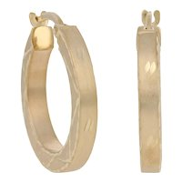 Yellow Gold Etched Brushed Earrings - 14k Pierced Hoops
