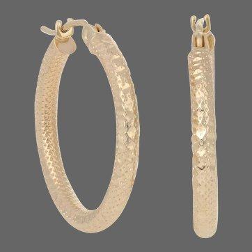 Yellow Gold Textured Earrings - 14k Women's Pierced Hoops