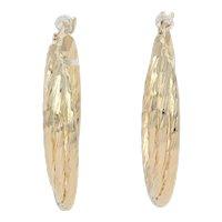 Yellow Gold Etched Twist Earrings - 14k Pierced Hoops