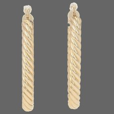 Yellow Gold Twisted Rope Earrings - 14k Nautical Pierced Hoops