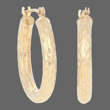Yellow Gold Textured Earrings - 14k Israel Pierced Hoops
