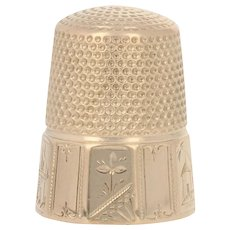 Yellow Gold Vintage Thimble - 14k Etched Sewing Tool Size 9