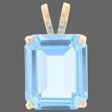 Yellow Gold Synthetic Blue Spinel Pendant - 14k Rectangle Cut 6.00ct Solitaire