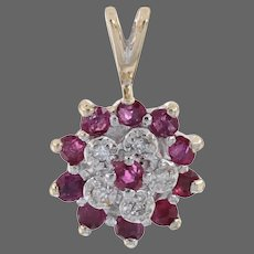 Yellow Gold Ruby & Diamond Flower Cluster Halo Pendant - 10k Round Cut .54ctw