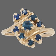 Yellow Gold Sapphire Ring - 14k Round Cut Cluster Bypass