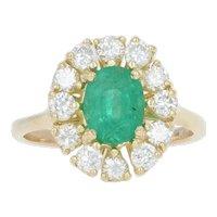 Yellow Gold Emerald & Diamond Ring - 14k Oval Cut 1.86ctw Halo