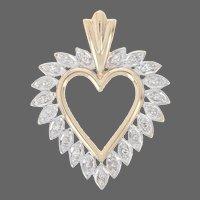 Yellow Gold Diamond Heart Pendant -10k Single Cut Accents