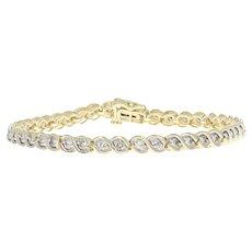 "Yellow Gold Diamond Link Bracelet 7 1/4"" - 10k Round Brilliant Cut 2.58ctw"