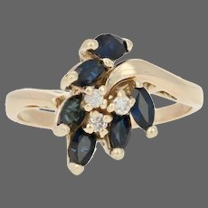 Yellow Gold Sapphire & Diamond Ring - 14k Marquise Cut 1.32ctw Cluster Bypass