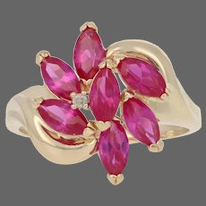Yellow Gold Synthetic Ruby & Diamond Ring - 14k Marquise 2.51ctw Cluster Bypass