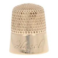 "Yellow Gold Vintage Sewing Thimble - 10k ""Hazel"" Monogram Size 8"