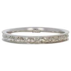 White Gold Art Deco Wedding Band - 14k Flowers Vintage Milgrain Ring Size 6 1/4