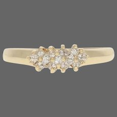 Yellow Gold Diamond Cluster Ring - 14k Princess Cut .39ctw Knife-Edge