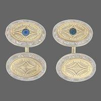 Krementz Sapphire Art Deco Cufflinks Yellow Gold -14k Round .28ctw Men's Vintage