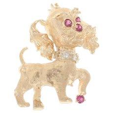 Yellow Gold Ruby & Diamond Dog Brooch - 14k Round Cut .24ctw Pet Canine Pin