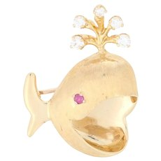 Yellow Gold Diamond & Ruby Whale Brooch - 18k Round Brilliant .20ctw Pin