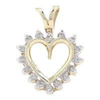 Yellow Gold Diamond Heart Pendant - 10k Single Cut .12ctw