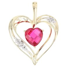 Yellow Gold Synthetic Ruby & Diamond Heart Pendant - 10k Checkerboard 2.30ctw