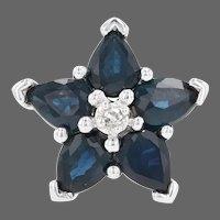 White Gold Sapphire & Diamond Halo Flower Pendant - 10k Pear Cut 1.00ctw