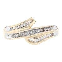 Yellow Gold Diamond Bypass Ring - 10k Single & Baguette Cut .20ctw