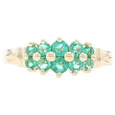 Yellow Gold Emerald Cluster Ring - 14k Round Cut .68ctw Ribbed