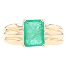 Yellow Gold Emerald Solitaire Ring - 14k Emerald Cut 1.80ct Ribbed