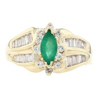 Yellow Gold Emerald & Diamond Bypass Ring - 14k Marquise 1.40ctw Halo-Inspired