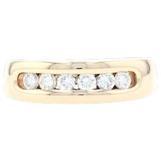 Yellow Gold Diamond Men's Wedding Band - 14k Round Cut .48ctw Channel Set Ring