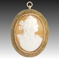 Vintage Carved Shell Cameo Brooch / Pendant - 10k Yellow Gold Fine Detail Work