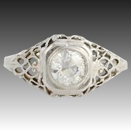 Art Deco Diamond Engagement Ring - 14k White Gold European Cut Genuine .59ctw