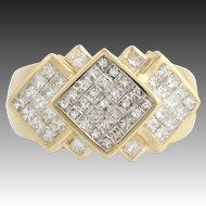 Diamond Cocktail Ring - 14k Yellow Gold Invisible Pave Princes Cut 2.00ctw