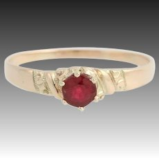 Victorian Red Glass Solitaire Ring - 10k Yellow Gold Antique Women's 7 3/4 - 8