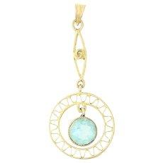 Art Deco Glass Drop Pendant - 10k Yellow Gold Aqua Stone March