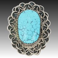Native American Turquoise Ring - Sterling Silver Women's Size 7 3/4