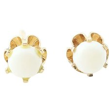 Opal Stud Earrings - 14k Yellow Gold Pierced Round Cabochon .20ctw