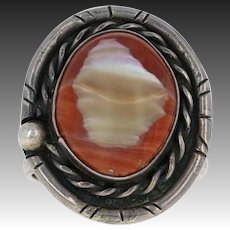 Native American Ring Navajo Coral Mother of Pearl Sterling Silver Artisan Size 9
