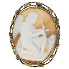 Victorian Cupid Cameo Brooch - Gold Filled Large Antique Carved Shell Pin