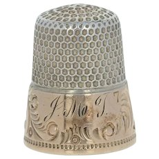 Antique Thimble Sterling Size 7 Floral Repousse Ketchem McDougall Co Sewing