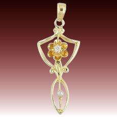 Art Deco Diamond & Seed Pearl Pendant - 10k Yellow Gold Vintage Flower