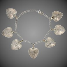 """Vintage Puffy Heart Charm Bracelet 5 3/4"""" - Sterling Silver Curb Chain"""