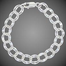 "Diamond Cut Double Curb Chain Bracelet 7 1/2"" - Sterling Silver Starter Charm"