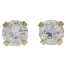 Round Brilliant Cubic Zirconia Earrings - 14k Yellow Gold Pierced CZ Studs