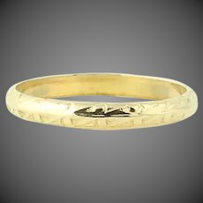 Baby Ring 10k Yellow Gold Knife-Edge Engraved Scrolling Pattern Size <1