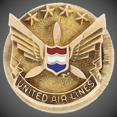 United Airlines 5 Year Company Service Pin - 10k Yellow Gold Enamel Aviation