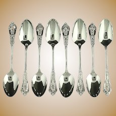 """Wallace Set of 8 Teaspoons - Sterling Silver 1934 Rose Point Flatware 6"""""""
