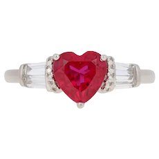 1.75ctw Heart Cut Synthetic Ruby & Synthetic White Sapphire Ring 10k White Gold G4998